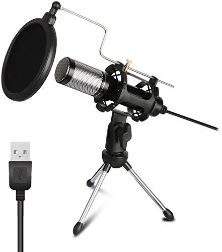 Bomaite Micrófono Condensador Profesional para Ordenador con Soporte para Teléfono PC Skype Estudio Micrófono USB Microfone Karaoke Mic