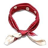 MAGIMODAC Seidentuch Damen Halstuch Bandana Satin 45-Muster Kopftuch Haarband Vierecktuch 70x70cm (Rot mit Polka dot)
