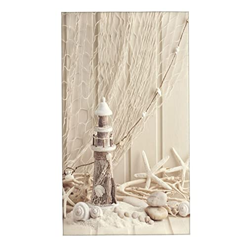 VANKINE Hand Towel Set 27.5'X15.7' Fishing Net Marine Theme Sea Stars and Shells Underwater Life Wooden Lighthouse Hotel Bathroom Washcloths Towels for Fitness Gym Spa Sauna Shower,Pack of 2