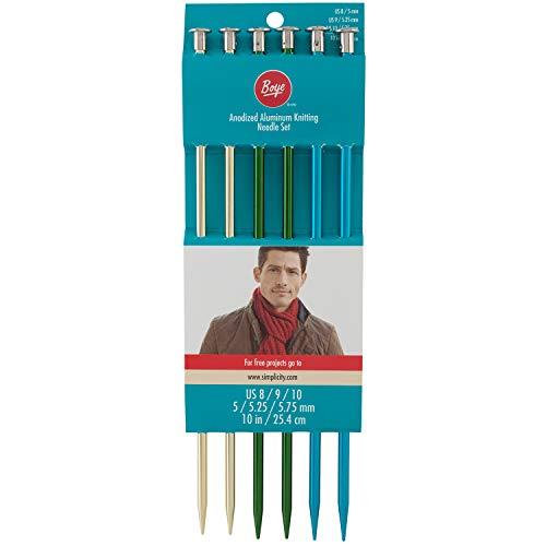 Boye 32936600000WA Aluminum Knitting Needle Set, Sizes 8/9/10, 10''