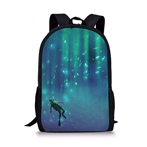 TTmom Zaini/Zaino Casual,Borse a Zainetto, Cool 3D Scuba Diving Pattern School Bag Storage Backpack Boys Teens Bookbag Pattern 2