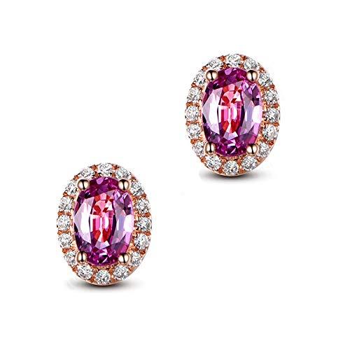 Beydodo Pendientes Mujer Oro Rosa,Pendientes Oro Rosa 18k Oval con Zafiro Rosa 1.3ct