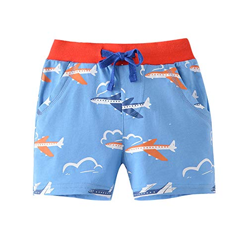 EULLA Jungen Pants Sommer Kurze Hosen 3D Gedruckt Sport Shorts, 02-blau, 116 (Herstellergröße: 130)