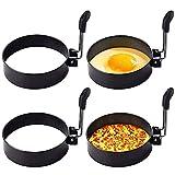 Anillo de huevo de acero inoxidable, paquete de 4 herramientas redondas para el desayuno para el hogar para cocinar, anillos redondos para cocinar huevos y hacer huevos
