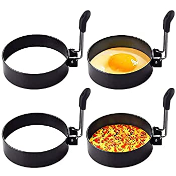 YEVIOR Egg Ring,4 Pack Round Breakfast Household Mold Tool Cooking,Round Egg Cooker Rings For Frying Shaping Cooking Eggs,Egg Maker Molds…