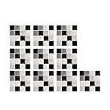 10 PC Peel and Stick Tile for Kitchen Backsplash, 12x12 cm Black and White Subway Tile with Grey Grout