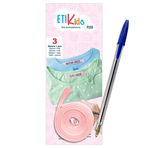 1 Rollo de cinta de tela de 3 metros x 1 cm de color Rosa. Etiqueta termoadhesiva para escribir con boli. Incluye Bolígrafo.