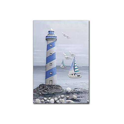 LiMengQi Carteles e Impresiones nórdicos Sea Lighthouse Landscape canavs Pintura Marina Cuadros de Pared para decoración del hogar Cuadros de Arte de Pared (Sin Marco)