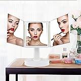 女優ミラー 化粧鏡 三面鏡 鏡 led 卓上ミラー 化粧ミラー 卓上スタンドミラー置き鏡 折りたたみ式 ledライト付き 360°回転 角度自由調整 タッチパネル スタンド ミラーLEDブライト電池&USB 2WAY給電