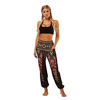 QUANYONG Women s Harem Pants Boho Yoga Pants Hippie Flowy Casual Beach Pants High Smocked Waisted YCI004