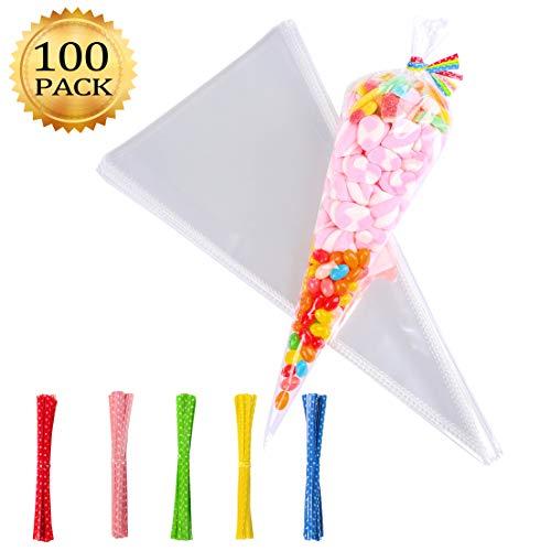 Whaline 100 Stück Cone Tüte Süßigkeitentüten OPP Tütchen, 37cm x 18 cm + 100 pcs Bindestreifen, Klar Kegel Taschen für Schokolade, Bonbons, Puffreis