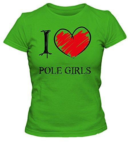 I Love Pole Girls Fun Damen T-Shirt_grün_XL
