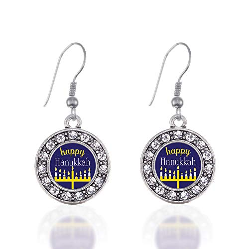 Inspired Silver - Happy Hanukkah Charm Earrings for Women - Silver Circle Charm French Hook Drop Earrings with Cubic Zirconia Jewelry