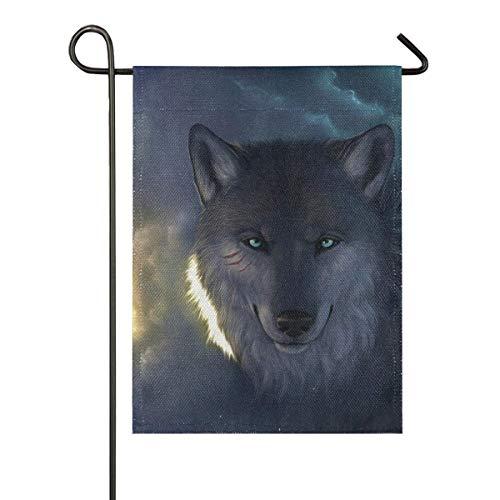 LL-Shop Wolf Sackleinen Garten Flagge doppelseitig, Haus Yard Flaggen, Holiday Seasonal Outdoor Dekorative Flagge