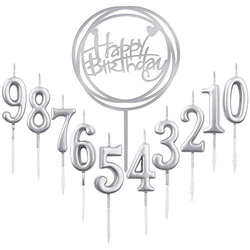 10 Stück Nummer 0-9 Geburtstag Ziffer Kuchen Kerzen + 1 Stück Brief Alles Gute zum Geburtstag Glitter Cake Topper Dekoration Kuchen Nummer Digitale Kerzen für Geburtstagsfeier Hochzeit (Silber)