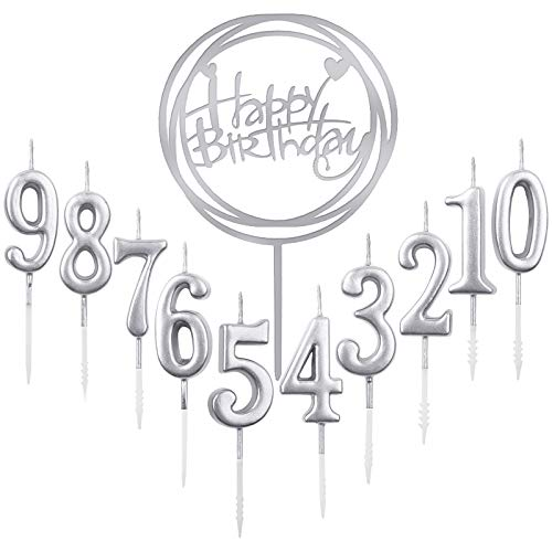 10 pezzi numero 0 – 9 compleanno cifra torta + 1 lettera Buon compleanno Glitter Cake Topper decorazione torta numero candele digitali per festa di compleanno matrimonio (argento)