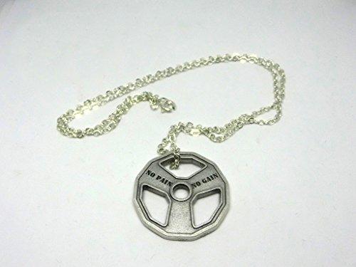 Gym Collar de 60 cm con colgante plateado en forma de disco...