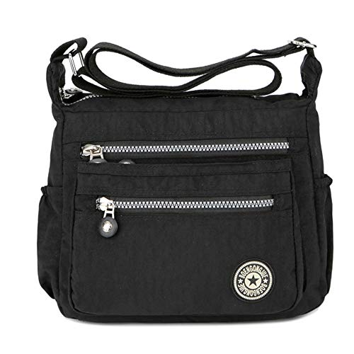 Women's Casual Multi Pocket Nylon Messenger Bags Cross Body Shoulder Bag Travel Purse (Black)(Size: 11(L)*9(W)*5.5(H)inch)