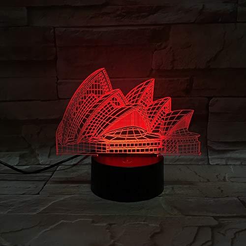 Nur 1 Stück Sydney Opera House 3D-Lampe Mehrfarbig mit Fernbedienung für Festival LED-Nachtlichtlampe Beste süße Belohnung für Kinder