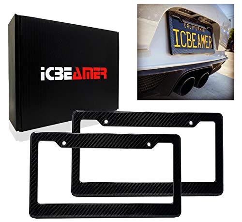 ICBEAMER License Plate Frames- Gloss Real Carbon Fiber + Waterproof Black Plastic for Auto Vehicle Truck Van [Pack 2 pcs]