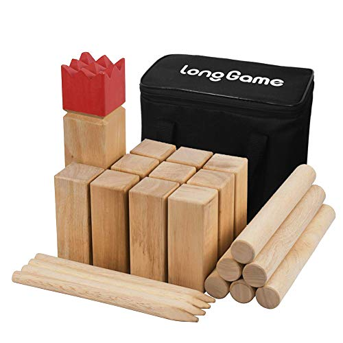 Outdoor Kubb Yard Game for Kids and Adults Hardwood Knot-Free Wooden Family Backyard Giant Lawn Games Set with Carrying Bag (Medium)