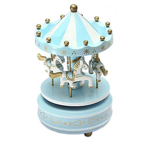 Klassisches Karussell Pferde Drehen Musik Spieluhr Home Dekoration Kind Urlaub Geburtstagsgeschenk (Blau)