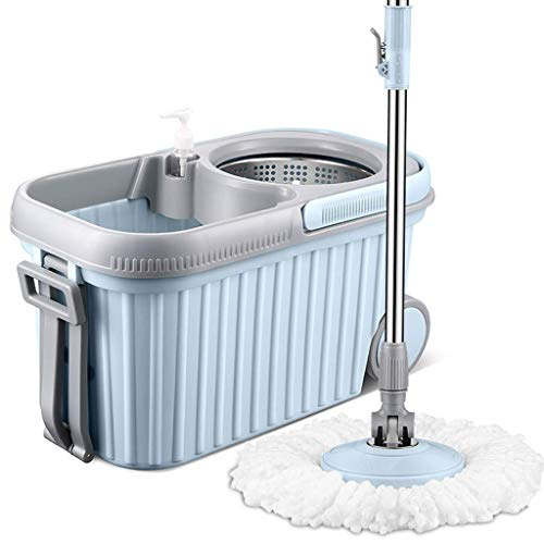 SCDTB Spin Mop and Bucket – 2 Stage Floor Mop System with Built-in Detergent Dispenser Separates Clean and Dirty Water to Get Floors Cleaner