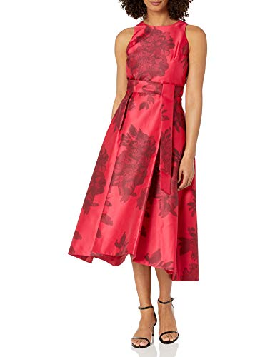 Tahari ASL Women's Mikado Fit and Flare Hi-Lo Dress Cocktail, Pink Black Floral, 14