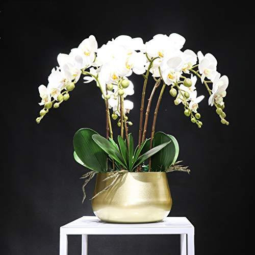 YSJSPOL Künstliche Blumen Weiße Orchidee (7 stücke Orchidee + 5 stücke Blätter + Topf) DIY Blume Anordnung Echte Touch Blume Büro Dekoration Ereignis Mittelstück (Color : 06, Size : About 40x40cm)
