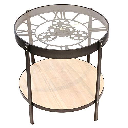 Home Deco Factory HD6447 Table Basse Dappoint Horloge, Fer, Noir, Transparent, 50 x 50,5 x 51 cm