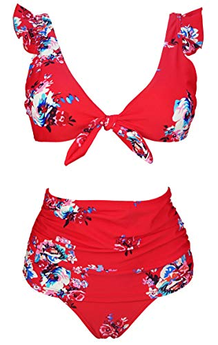 COCOSHIP Red & White & Jade Pink Garden Floral High Waisted Shirred Bikini Set Tie Front Closure Top Ruffle Straps Swimsuits 12