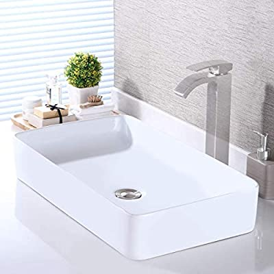 KES Bathroom Vessel Sink 24 Inch Above Counter Rectangular White Ceramic Countertop Sink for Cabinet Lavatory Vanity, BVS123S60