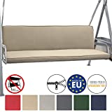 Beautissu Hollywoodschaukel Auflage Loft HS 180x50cm Auflagen für 3-Sitzer Hollywoodschaukel mit Rücken-Kissen Natur erhältlich