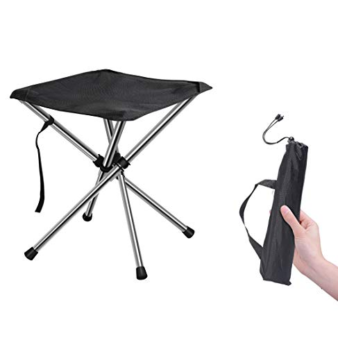 Chiitek Foldable Camping Stool Travel Chair Super Compact Ultralight Weight Tiny Size to Carry Out to Hiking, Beach, Camping,...