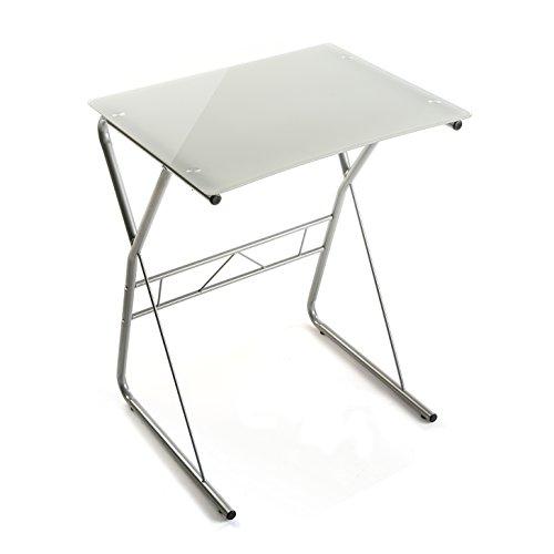 Versa Lisa Mesa Escritorio para el Ordenador, Mesa para la Habitación o Estudio, Medidas (Al x L x An) 75 x 47,5 x 60 cm, Cristal y Metal, Color Blanco