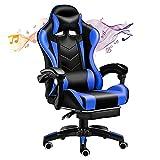 XUDAN Silla para videojuegos, silla de carrera ergonómica, masajeador farol con mando a distancia + audio Bluetooth + cojín lumbar de masaje + reposacabezas, carga de 500 kg, multifunción ajustable