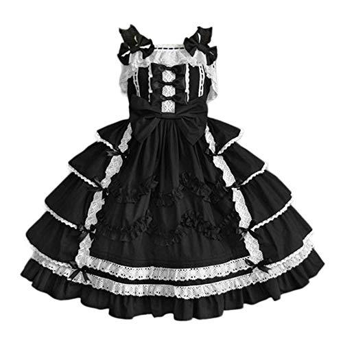 Doublehero Ballkleid Mittelalter Kleid mit Trompetenärmel Party Kostüm Damen Bow Vintage Renaissance Lolita Costume Cosplay Gothic Court Patchwork Bow Kleid