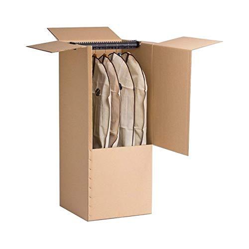 DOJA BARCELONA | Caja de Carton Armario para Mudanza con Percha | PACK 2 | 100 x 50 x 50 cm | Cajas Percheras REFORZADAS para colgar la ropa