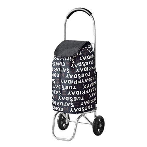Carrito de compras Carrito de compras de aluminio plegable conveniente Carrito con ruedas ultraligero El equipaje de cuatro ruedas puede subir 55L, 30 Carrito de comestibles de 95 cm (Color: Azul)