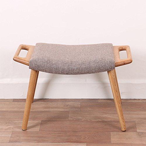 No band creatieve eiken salontafel kruk met 4 poten grijs geweven sofa-kruk eenvoudig wasbaar vrije tijd stoel, 62x35x40 cm 402