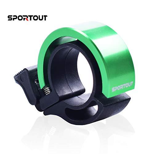 Sportout Mini campana per bici innovativa in lega di alluminio con suono chiaro e forte per scooter, cruiser, ebike, triciclo, montagna, strada, bici elettrica mtb bmx (verde)