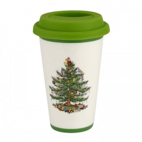Spode Christmas Tree Travel Mug with Silicone Lid