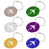 Mecmbj 6 Piezas Etiqueta Equipaje Metal, Etiqueta Maleta Viaje Etiquetas de Equipaje de Aluminio Redonda Identifier Etiquetas Maletas Viaje Luggage ID Tag para Maletas Equipaje de Mano