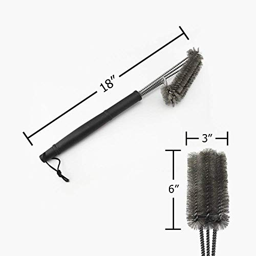 Grill Brush for BBQ - Best & Fastest Commercial Grade Barbecue Cleaner for All Grills - 100% - Extra Large & Heavy Duty - Thick Stainless Steel Bristles More Durable Than Brass - Clean Your Weber or Char-broil Grill Better Now!
