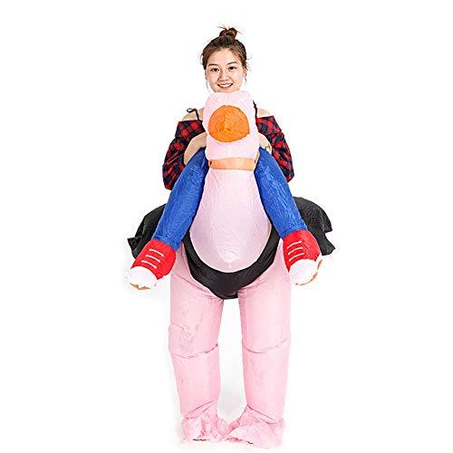 Cosplay Costume Struzzo Gonfiabile Ciclista Rosa Uccello Animale Fantasia Divertente Tuta Completo Uomo Halloween Natale Regalo