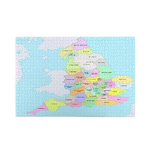 Rompecabezas de 1000 piezas,borde colorido,condados históricos de Inglaterra,administración de mapas,juego de rompecabezas para familias numerosas,ilustraciones para adultos y adolescentes