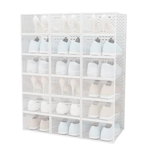 UDEAR Caja de Zapatos con Puerta, Caja de Zapatos portátil, apilable, Plegable, Caja de plástico, 18 Paquetes, Blanco Transparente