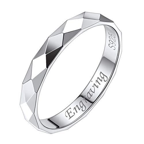 Silvora Personalizable Anillo Novia de Promesa Plata de Ley, Anillo con Detalles Corte de Diamante, talla 17 circunferencia 57mm