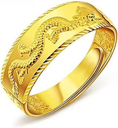 Dragon Pattern Rings for Men Yellow Gold Filled Unisex Couple Ring Men Punk Simple Vintage Wedding Ring Men Women Golden Rings