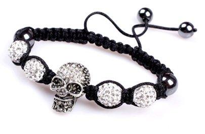 Shamballa Style Jewelry Skull Bracelet 6' - 9' Adjustable 4X White Pave Shine Crystal Beads W/ 1x Skull Beads